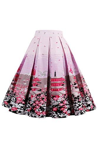 Elegante A Pink5 Nimpansa Stampa Midi Gonna Depoca Gonne Le 7wxzH