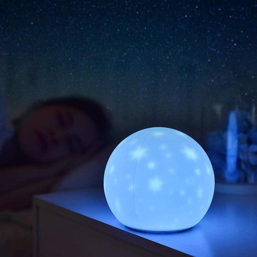 Batteriebetriebene LED Nachttischlampe SALCAR Kinder Sternenhimmel Nachtlicht mit 6 Beleuchtungsmodi und 3 dimmbaren Helligkeitsstufen Wiederaufladbare Silikon Projektor Schlummerlampe