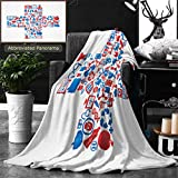 Unique Custom Double Sides Print Flannel Blankets Abstract Concept Of Medicine Medicals Icons Texture In Cross Shape Composition Bac Super Soft Blanketry for Bed Couch, Throw Blanket 60 x 40 Inches