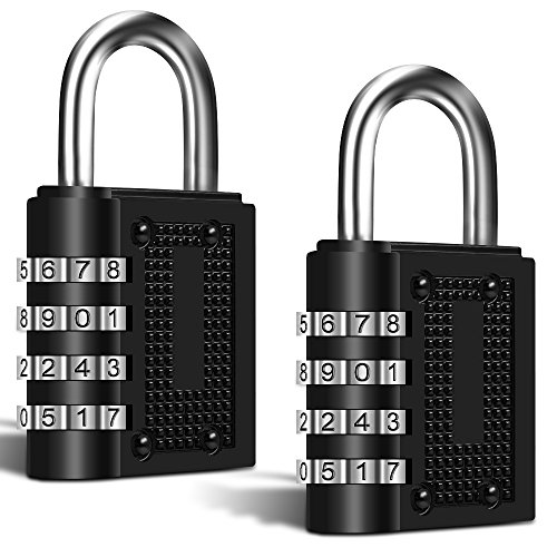 2 Pack Combination Digital Padlocks, FineGood 4 Digit Combination Locks for Shed Door School Gym Pool Locker Suitcase Toolbox - Black