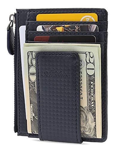 AslabCrew Minimalist Genuine Leather Zipper Magnetic Front Pocket Money Clip Wallet RFID Blocking Card Wallets, Carbon-Navy