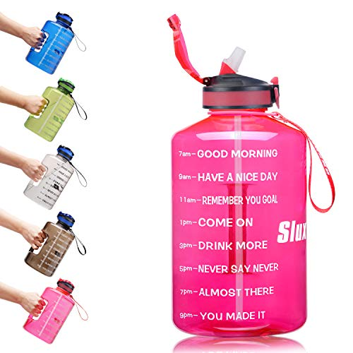 SLUXKE 128oz Large Gallon Water Bottle with Straw and Motivational Time Marker Easy Sipping Leakproof BPA Free Fitness Sports Water Bottle to Ensure You Drink Enough Water Throughout The Day