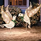 Set of 2 Lighted Glitter Scrolled Peace Doves Clear White Lights Bird Decor Christmas Easter Holiday Outdoor Yard Decoration