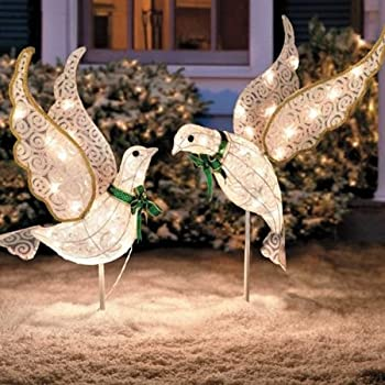 Amazon Com Set Of 2 Lighted Glitter Scrolled Peace Doves