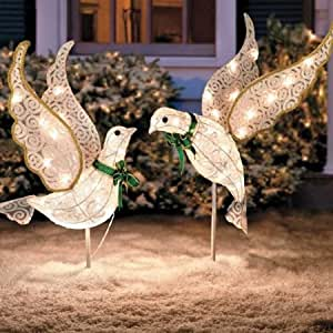 Amazon.com: Set of 2 Lighted Glitter Scrolled Peace Doves ... on Backyard Decorations Amazon id=62001
