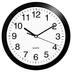 HeQiao Wall Clock, 10 inch Quartz Round Wall Clock Silent Non Ticking Battery Operated Easy to Read Decorative Clock for Home Office School
