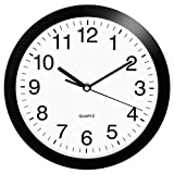 HeQiao 10 Inch Round Quartz Wall Clock Silent Non-Ticking Battery Operated Easy-Read Analog Clock for Home Office School