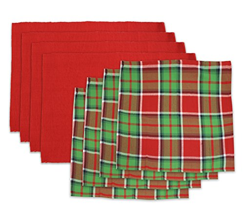 Homewear 8-Pc. Set of Festive Plaid Holiday Napkins and Red Placemats (4 of each) (Placemat And Napkin Sets)