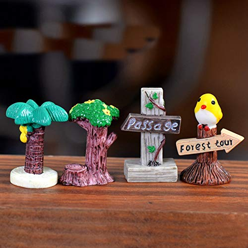 LySanSan - Mini DIY Signpost Simulation Stop Sign Mini Landscape Figurines Terrarium Miniatures Resin Craft Garden Decor 4 Styles