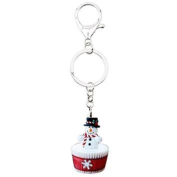 QYYDJMJ Acrílico Navidad Muñeco de Nieve Cupcake Llavero ...