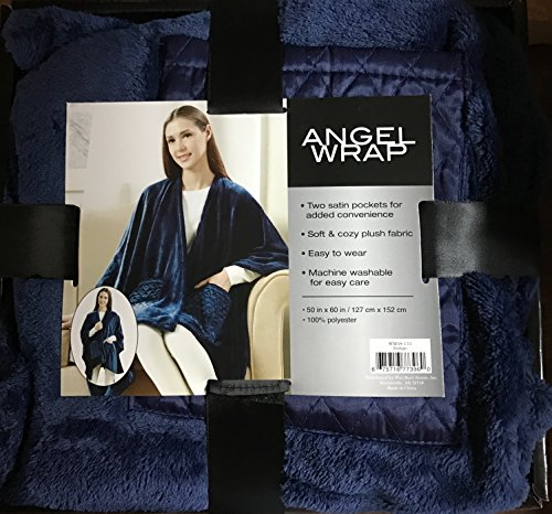 Angel Wrap Blanket with Two Satin Pockets, 50 x 60 Indigo