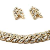 Gold Crystal Chevron Shape Rhinestone Stack Necklace Dangle Earrings Jewelry Set