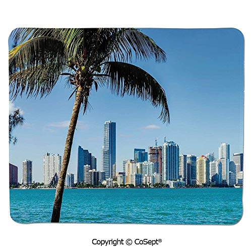 Non-Slip Rubber Base Mousepad,Miami Downtown with Biscayne Bay Buildings and Palm Tree Panoramic,for Computer,Laptop,Home,Office & Travel(11.81