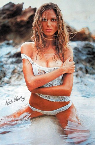Heidi Klum - Personality Poster Posing On Beach & Strip Set