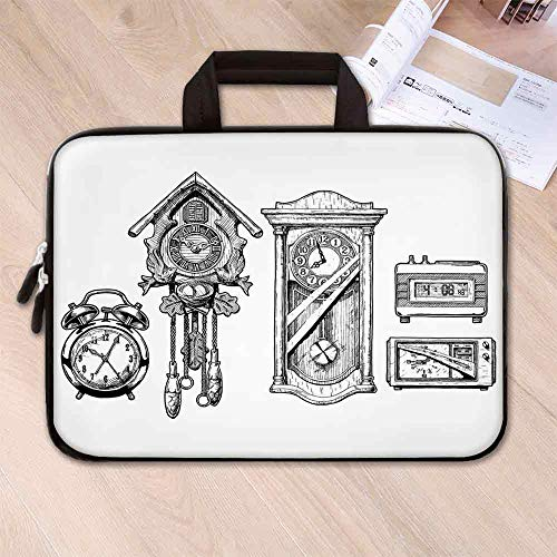 - Clock Decor Neoprene Laptop Bag,Vintage Clocks Set in Ink Hand Drawn Style Retro Decorative Illustration for Office Worker Students,15.4''L x 11''W x 0.8''H