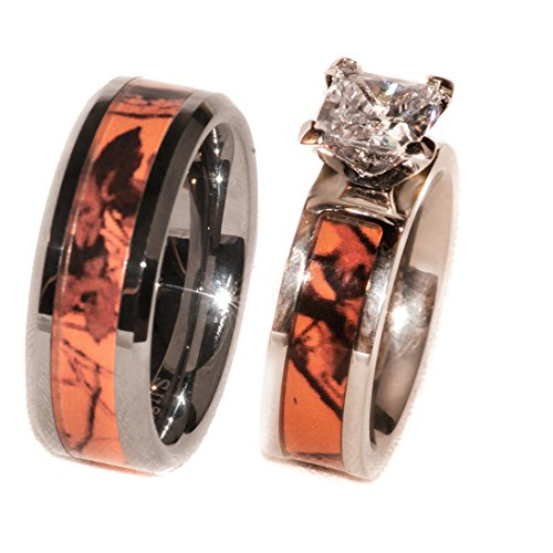Orange Camouflage Couples Ring Set Hers w/Stone (His 8 Hers 5)]()