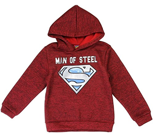 Lined Sweatshirt Dc (DC Comics Little Boys' Superman Logo Pullover Hoodie, Red (2T))