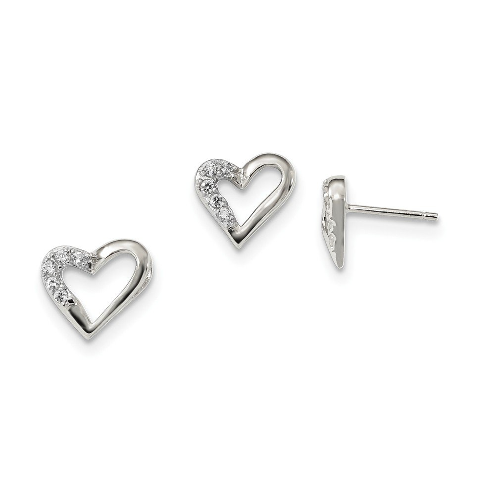 Sterling Silver Polished Hidden bail Post Earrings Cubic Zirconia Heart and Earring Set