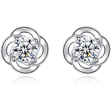 Sterling Silver Ear Studs Cubic Zirconia Crystal Stud Earring Fashion for Women Girls Lady