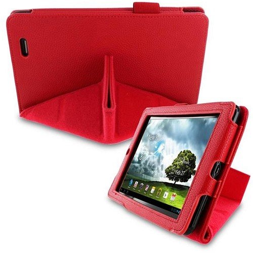 (rooCASE Asus MeMO Pad 7 - Origami Dual-View Vegan Leather Case (Red))