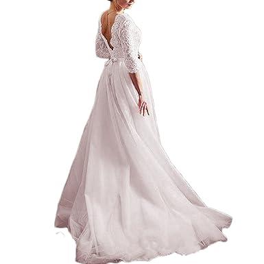 Thrsaeyi Women S Blush Long Sleeves Wedding Dresses V Neck Beach Wedding Gowns For Bridal 2018 Lace Boho Bridal Gown