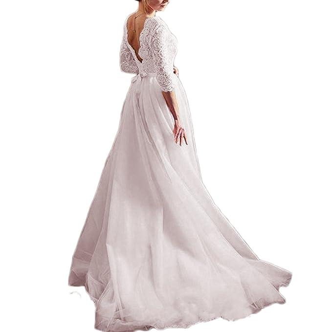 Amazon.com: thrsaeyi Mujer Blush mangas largas vestidos de ...