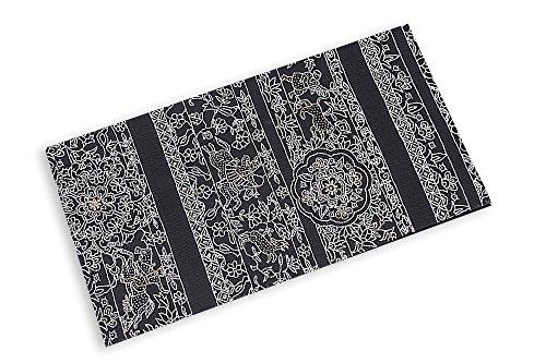 どこでも暗記するバンドル正絹袋帯 黒×白×金(ビーズ) カジュアル おしゃれ用
