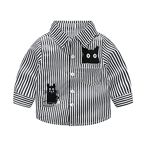 Big Clearance! Daoroka Toddler Infant Baby Boys Long Sleeve Embroidery Cartoon Cat Striped T Shirt Tops Autumn Winter Outfits