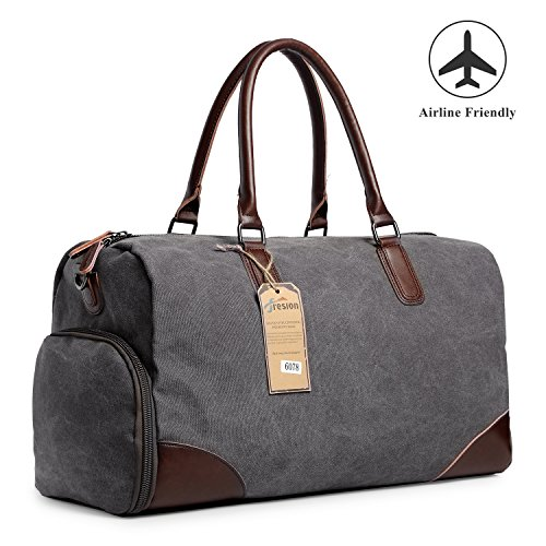 Fresion Outdoor Canvas Handbag Carry On Luggage Genuine Leather Travel Shoes Pocket (Gray) from Fresion
