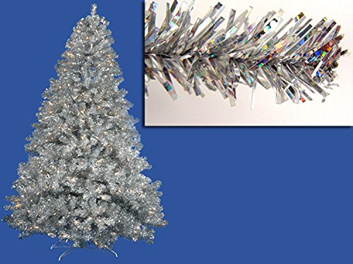Vickerman Pre-Lit Sparkling Silver Full Artificial Tinsel Christmas Tree with Clear Lights, 7'