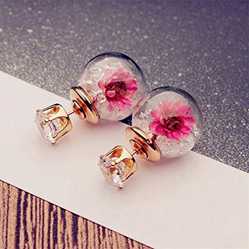 Boardwalk Empire Halloween Costume Ideas (Iumer Ball Earrings Round Flowers Spherical Wild Personalized Dried Hot Pieces Glass Ball Earrings Double-sided Female White)