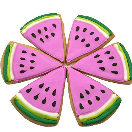 (Pink Watermelon Slice- 12 Decorated Shortbread Cookies Individually Wrapped With Bow by BakersDozenToGo)
