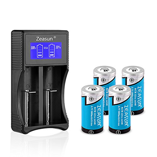 CR123A Rechargeable Battery Zeasun 4 Pack 3.7V 800mAh 16340 Lithium Batteries and LCD Display Battery Charger for Li-ion 18650 16340 14500 26650 Ni-MH Ni-CD AA AAA Rechargeable (Rechargeable Lithium Replacement Battery)