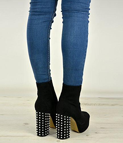 Brand New Womens Biker Boots Ladies Girls High Block Heels Spike Rock Studs Platform Shoes Size UK 3-8 Black Suede X4iEpcD