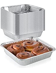Pack of 50 Extra-Thick Disposable Aluminum Baking Pans