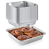 "Pack of 50 Extra-Thick Disposable Aluminum Baking Pans | Standard Size 8"" x 8"" Recyclable Square Cooking Tins 