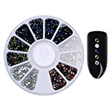 AB crystal 2mm,1.2mm/2mm/3mm/4mm Mixed Silver Round Nail Rhinestones - Best Reviews Guide