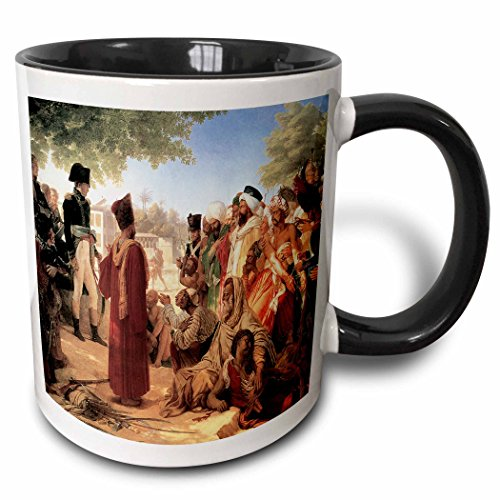 (3dRose BLN Middle Eastern and Northern African Fine Art Collection - Bonaparte Pardoning the Insurgents in Cario by Pierre Nacrisse Guerin - 15oz Two-Tone Black Mug (mug_127445_9))