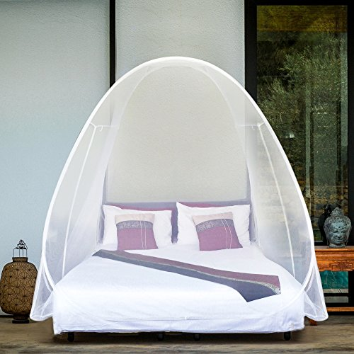 Natural Net - POP UP MOSQUITO NET Tent Extra Large for Twin to King Size Bed, Canopy for Beds, Folding Design with Bottom, Quick & Easy Installation, Insect Fly Screen, No Chemicals, 2 Openings, Carry Bag