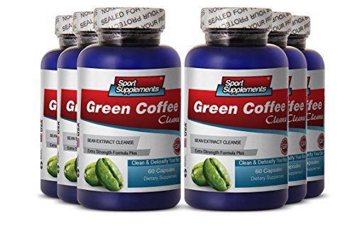 Green Coffee Bean - Green Coffee Cleanse 400mg - Boost Metabolism and Burn Fat with Herbal Pure Green Coffee Cleanse (6 Bottles 360 Capsules) by Sport Supplement