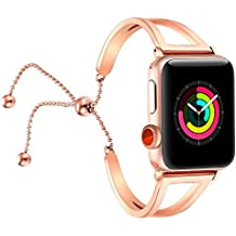 For Apple Watch Strap 42mm, Fastgo 2018 Newest Released Vintage Classy Stainless Steel Beaded for Apple Watch Band in Rose Gold Color for Feminine Women Girls (Rose Gold - 42mm)