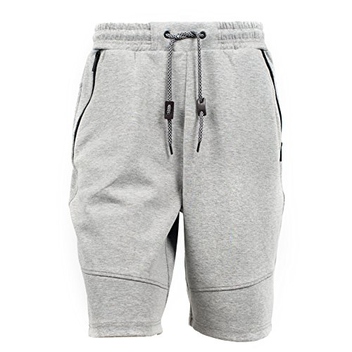 (Yes Way Men's Classic Fit Casual Soft Fleece Cargo Short Pants-Grey M)