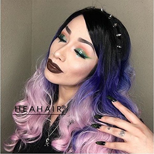 [Heahair Fashion Style Handtied Triple Black Pink Blue Body Wave Long Synthetic Lace Front Wigs for] (Wavy Guy Costume)