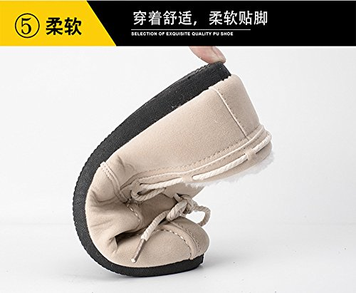 Loafers Fully Fur Lining Men's Women's Slip on Flats Winter Casual Shoes Warm Oxford Shoes Brown eqhJl