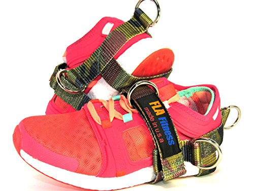 Glute Kickback by FLA Fitness – Ankle Strap -Handmade in USA – 5 D-Rings (2 Pack) (Camu, Large)