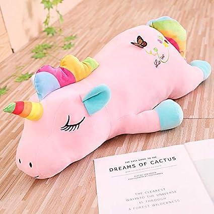 Suave Unicornio con Mariposa Y Juguete De Peluche Amor, Cojín De Almohada De Regalo, para Recién Nacido Animal Lindo Bebé 65Cm