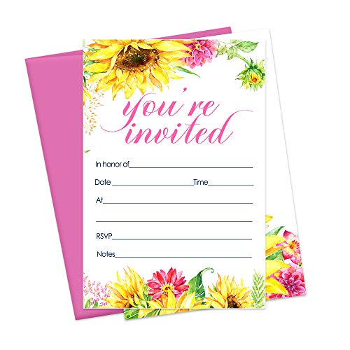 Sunflower Invitations and Pink Envelopes - Set of - Birthday Yellow Invitations