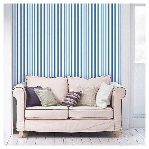 Devine Color Stripe Peel & Stick Wallpaper [27.5 Square Foot] (Blue Crest Stripe)