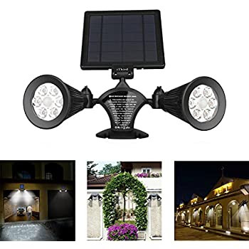 Solar Motion Sensor Light Outdoor, iThird 12 LED 600LM Solar Powered Security Lights Wall Mounted Spotlights for Garage Garden Yard Porch Driveway Pool Daylight Super Bright Waterproof