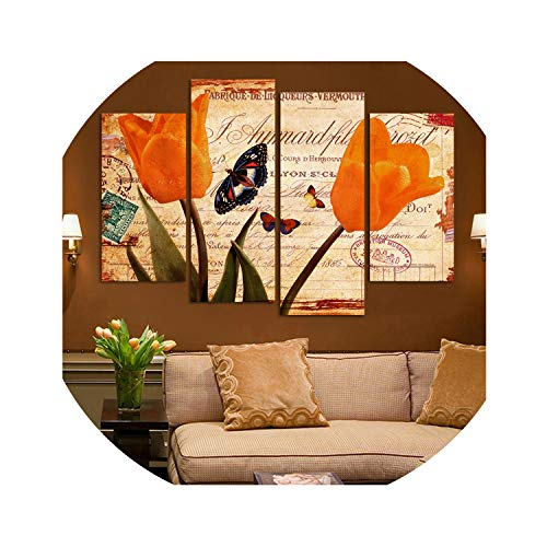 three thousand Oil Painting Wall Art Canvas Painting Tulips and The Butterfly Picture Living Room Home Decoration Print On Canvas(No Frame) Art,20X40Cmx2Pcs 20X50X2
